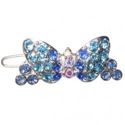 Barrette Papillon strass bleu pour chien