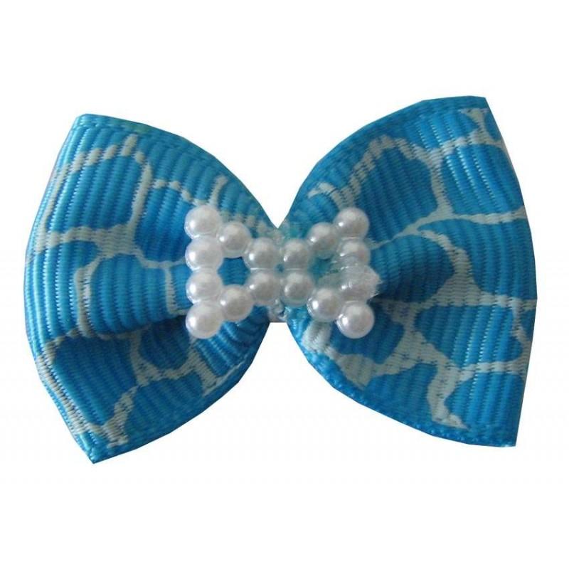 Noeud bleu et perles à élastique pour chien