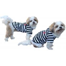 T-shirt rayé à capuche pour chien