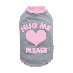 """T-shirt gris et rose """"Hug me please"""" pour chien"""