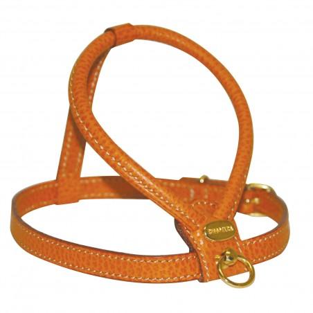 Harnais cuir grainé noir, rouge ou orange pour chien