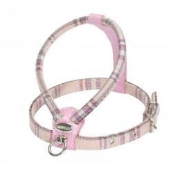 Harnais tartan et cuir rose  pour chien