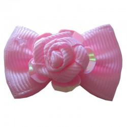 Noeud rose et fleur à élastique pour chien