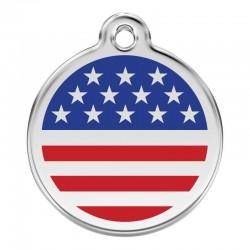 Médaille Drapeau émail pour chien