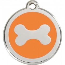 Médaille Os orange émail pour chien