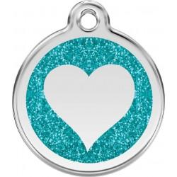 Médaille Coeur turquoise pailleté pour chien