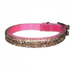 Collier bijou strass rose pour chien