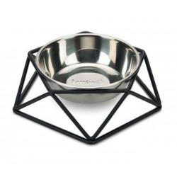 Gamelle inox et métal noir pour chien
