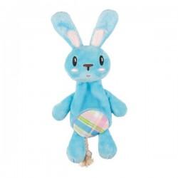 Jouet lapin bleu peluche et corde pour chiot
