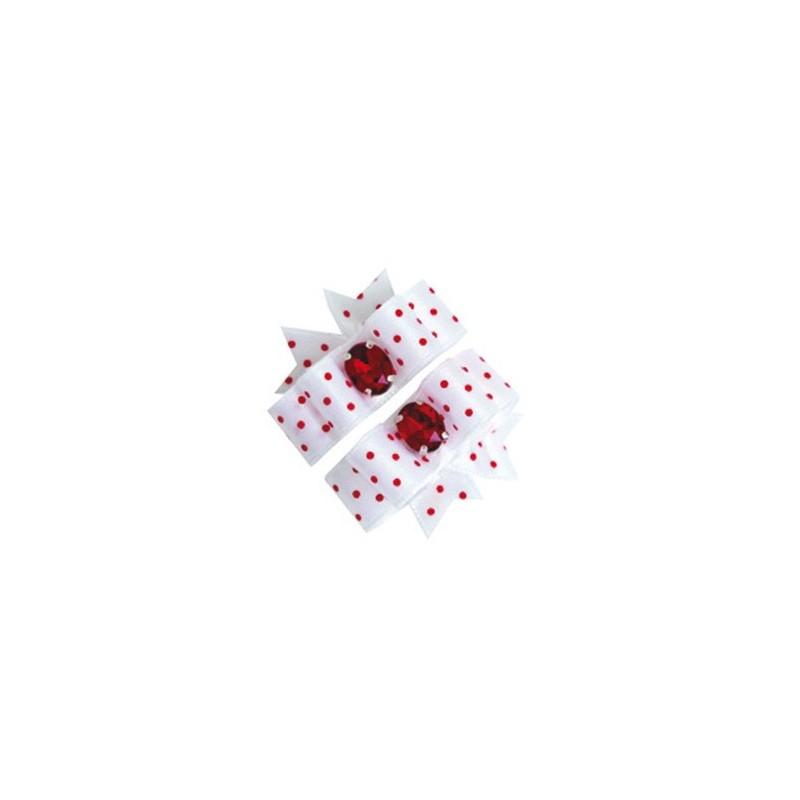 Barrette noeud blanc à pois rouge pour chien