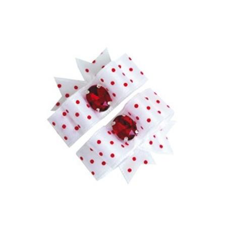 Barrette noeud double blanc à pois rouge pour chien