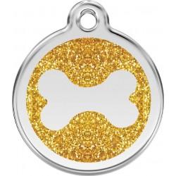 Médaille pailletée Os dorée pour chien