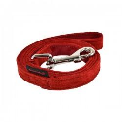 Laisse nylon et tissu bordeaux pour chien