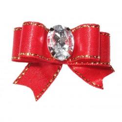 Barrette noeud rouge fil or pour chien