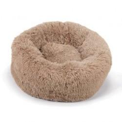 Corbeille Donut moelleux beige pour chien et chat