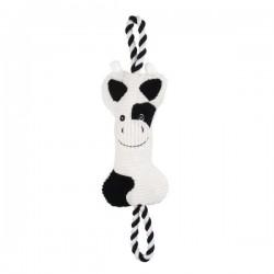 Jouet vache velours + corde pour chien