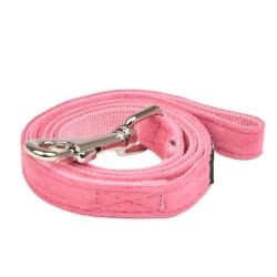 Laisse nylon et tissu rose pour chien