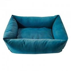 Sofa velours bleu canard pour chien
