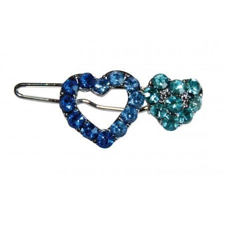 Barrette coeur strass bleu pour chien