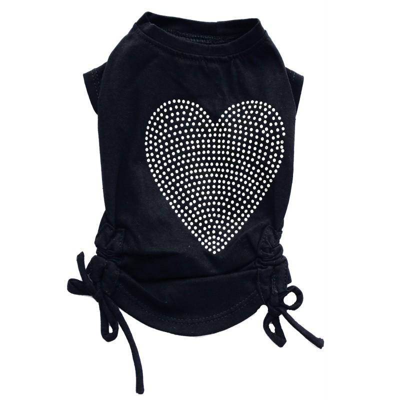 T-shirt noir coeur strass pour chien
