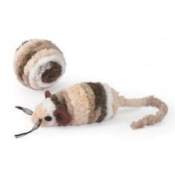 Lot 2 jouets souris + balle peluche beige pour chat