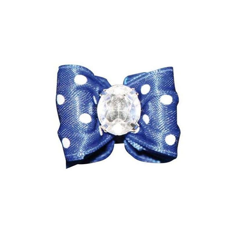 Barrette noeud bleu à pois blanc pour chien