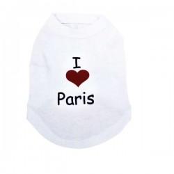 T-shirt blanc I love Paris pour chien