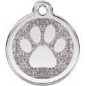 Médaille Patte argentée pailletée pour chien