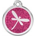 Médaille Libellule pailletée pour chien