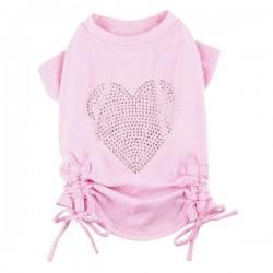 T-shirt rose coeur strass pour chien