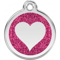 Médaille Coeur rose pailleté pour chien