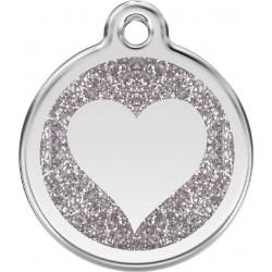 Médaille Coeur argent pailleté pour chien