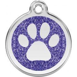 Médaille Patte pailletée bleu pour chien