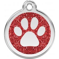 Médaille Patte pailletée rouge pour chien