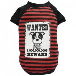 T-shirt rayé rouge Wanted Reward pour chien