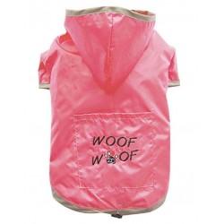 Imperméable souple 2D Woof rose à capuche pour chien