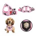 Harnais veste en tissu British rose pour chien