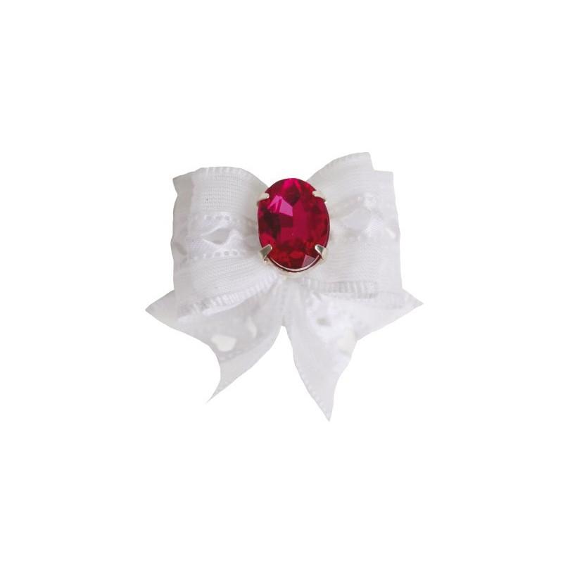 Barrette noeud blanc strass rouge pour chien