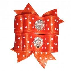 Barrette noeud double orange à pois blanc pour chien