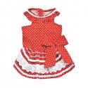 Robe rouge à pois et volants pour chien