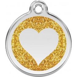 Médaille pailletée Coeur dorée pour chien