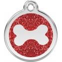 Médaille pailletée Os rouge pour chien