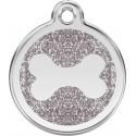 Médaille pailletée Os argent pour chien