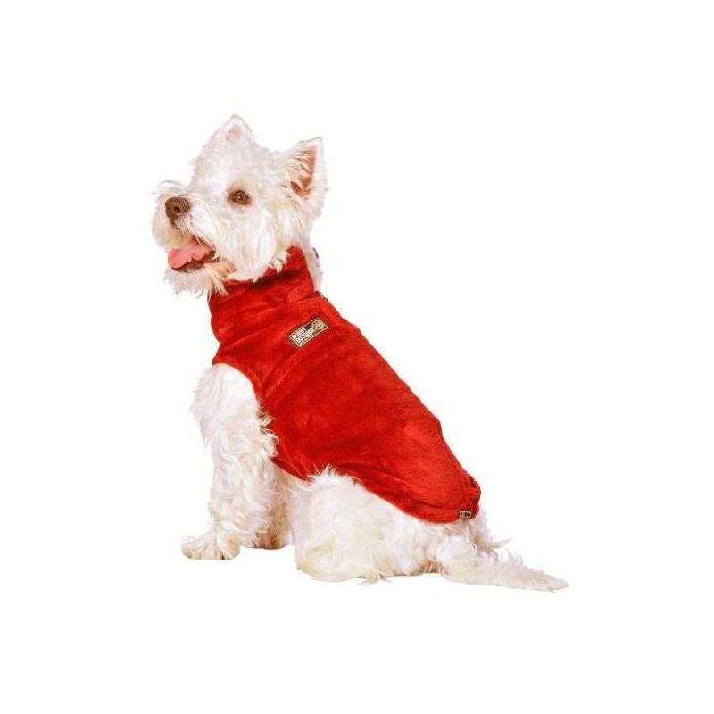 Pull polaire peluche rouge pour chien
