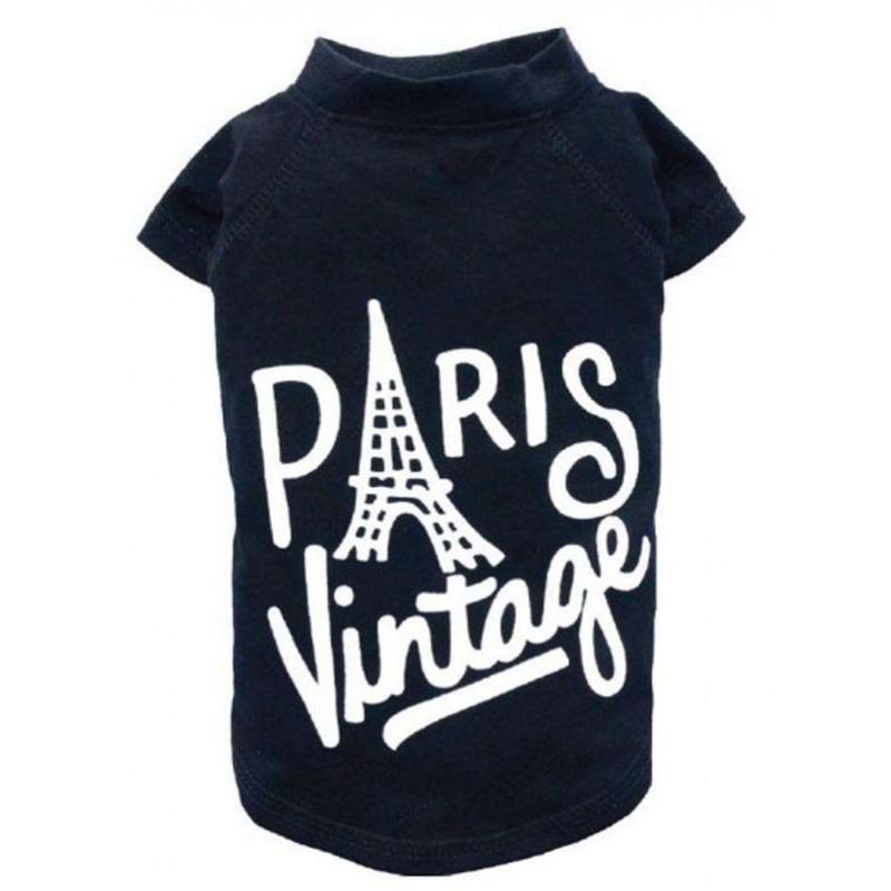 T-shirt noir Paris pour chien