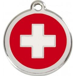 Médaille Drapeau Suisse en émail pour chien