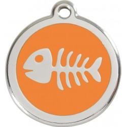 Médaille arête de poisson orange pour chat