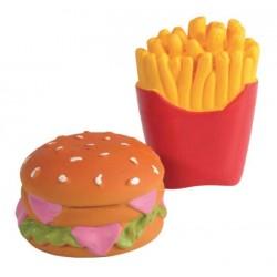 Jouet hamburger et frites latex pour chien