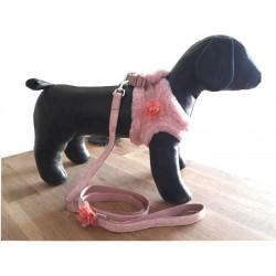 Harnais Girly fourrure rose + laisse pour chien