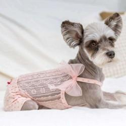 T-shirt dentelle et noeud rose poudré pour chien